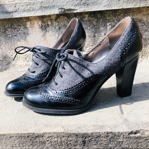 Marc Fisher - Oxford Patent & Wool LaceUp Booties